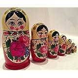 "Made in Russia Semenov Wooden Russian Nesting Dolls Matryoshka, Stacking Nesting Dolls 7 Pieces, 7"""
