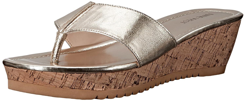 Nine West Women's Croptop Metallic Wedge Sandal B016LB2CZ2 7.5 B(M) US|Light Gold