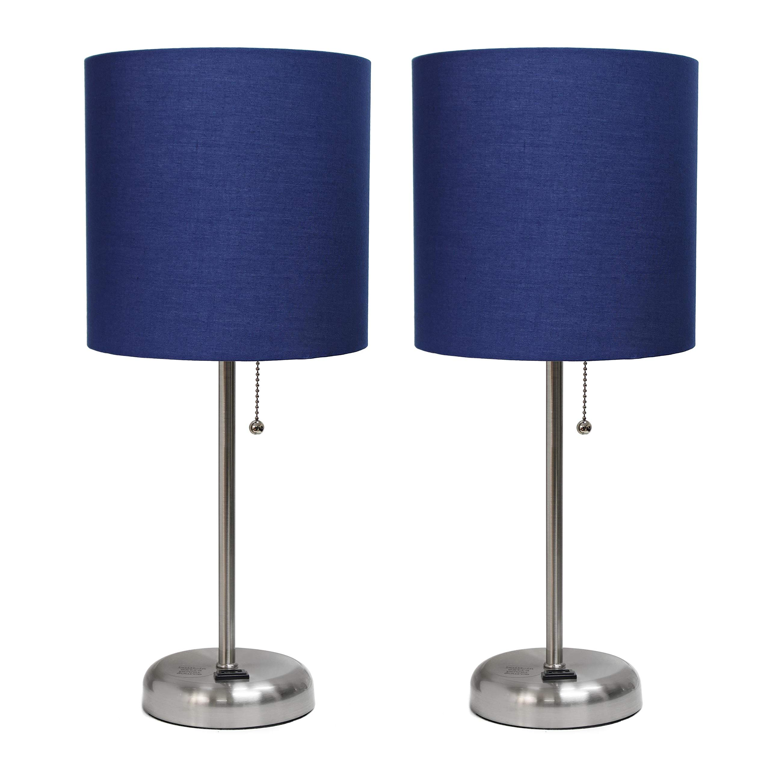 Brushed Steel Stick Lamp with Charging Outlet and Navy Fabric Shade 2 Pack Set