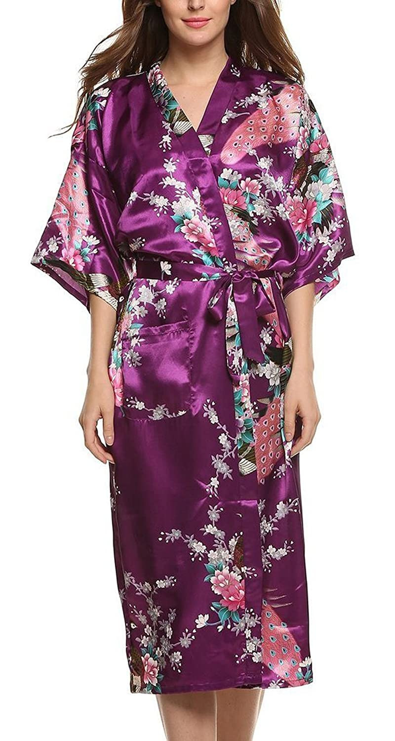 peignoir kimono long femme vansilk femme mm soie long robe de chambre peignoir kimono robe. Black Bedroom Furniture Sets. Home Design Ideas