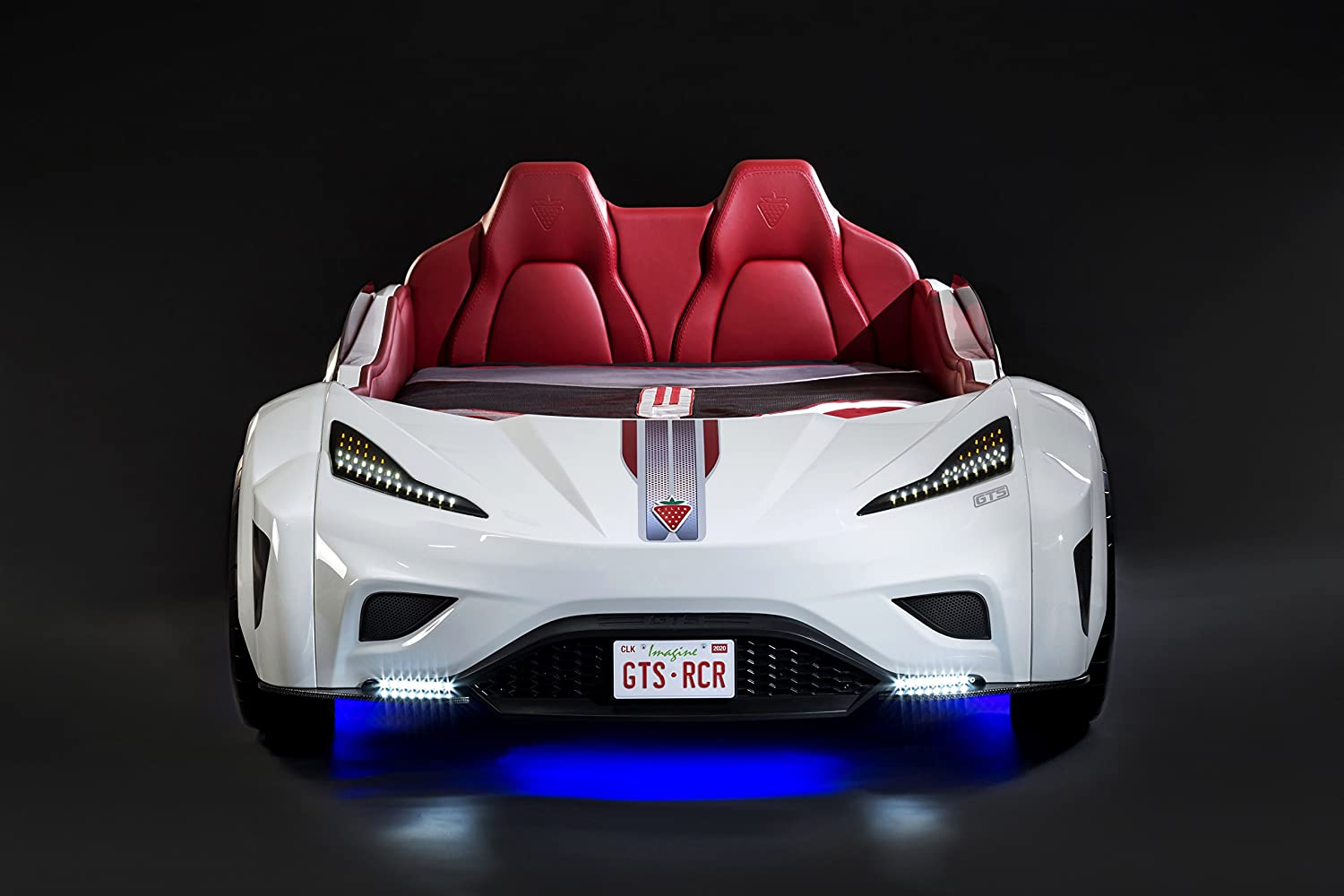 LED Headlights w// Remote Control Engine Sound Window Railings Cilek GTS Race Car Bed Vanity License Plate Interior Padding Upholstered Headboard Twin Black Ages 2 to 12