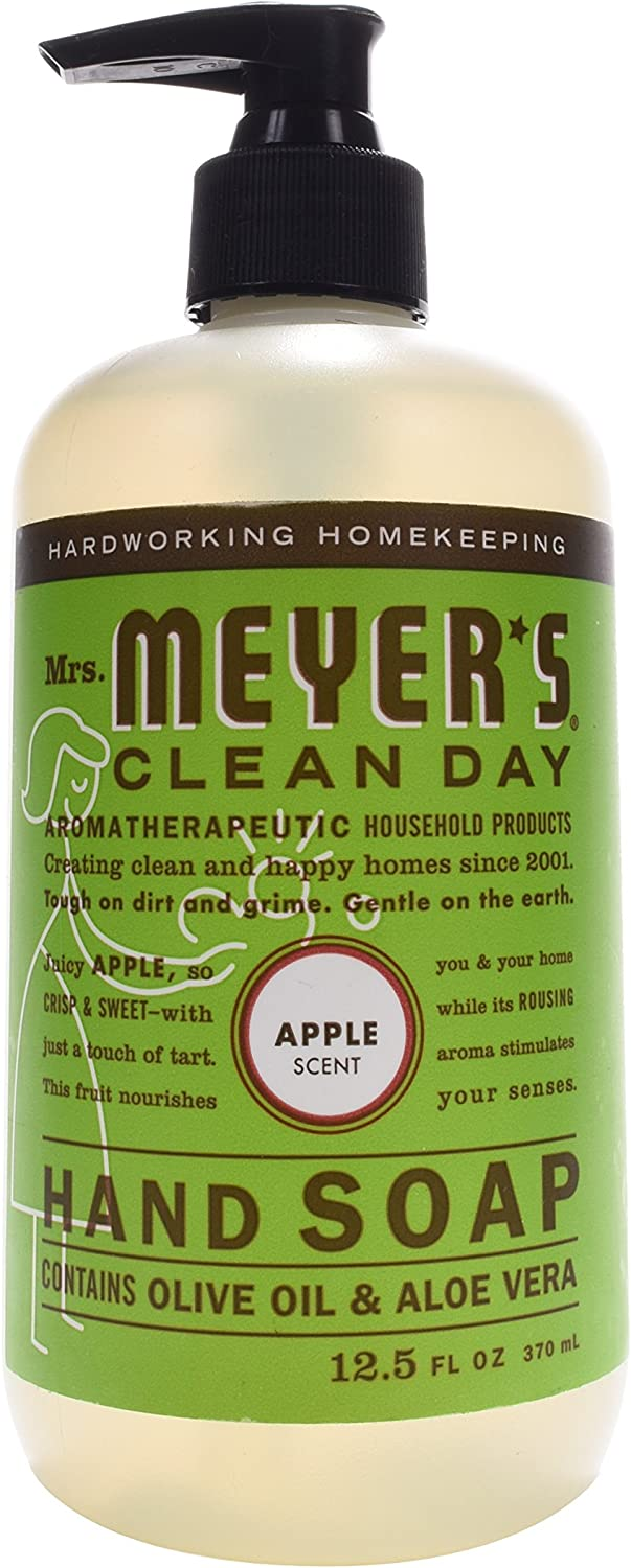 Mrs. Meyer's Clean Day Liquid Hand Soap, Cruelty Free and Biodegradable Hand Wash Made with Essential Oils, Apple Scent, 12.5 oz - Pack of 3