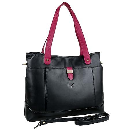 Ladies Soft LEATHER LARGE Shoulder Work BAG by GiGi Classic Black Navy  Handbag (Black Magenta Bone)  Amazon.co.uk  Luggage 6abd0efe3