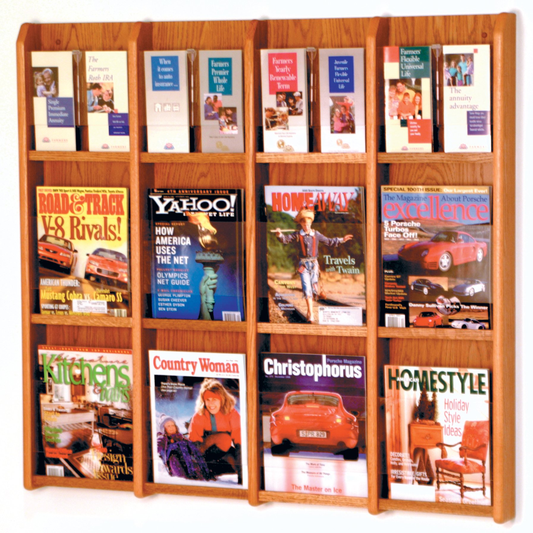 Wooden Mallet 12-Magazine/24-Brochure Divulge Wall Display with Brochure Inserts, Medium Oak by Wooden Mallet (Image #1)