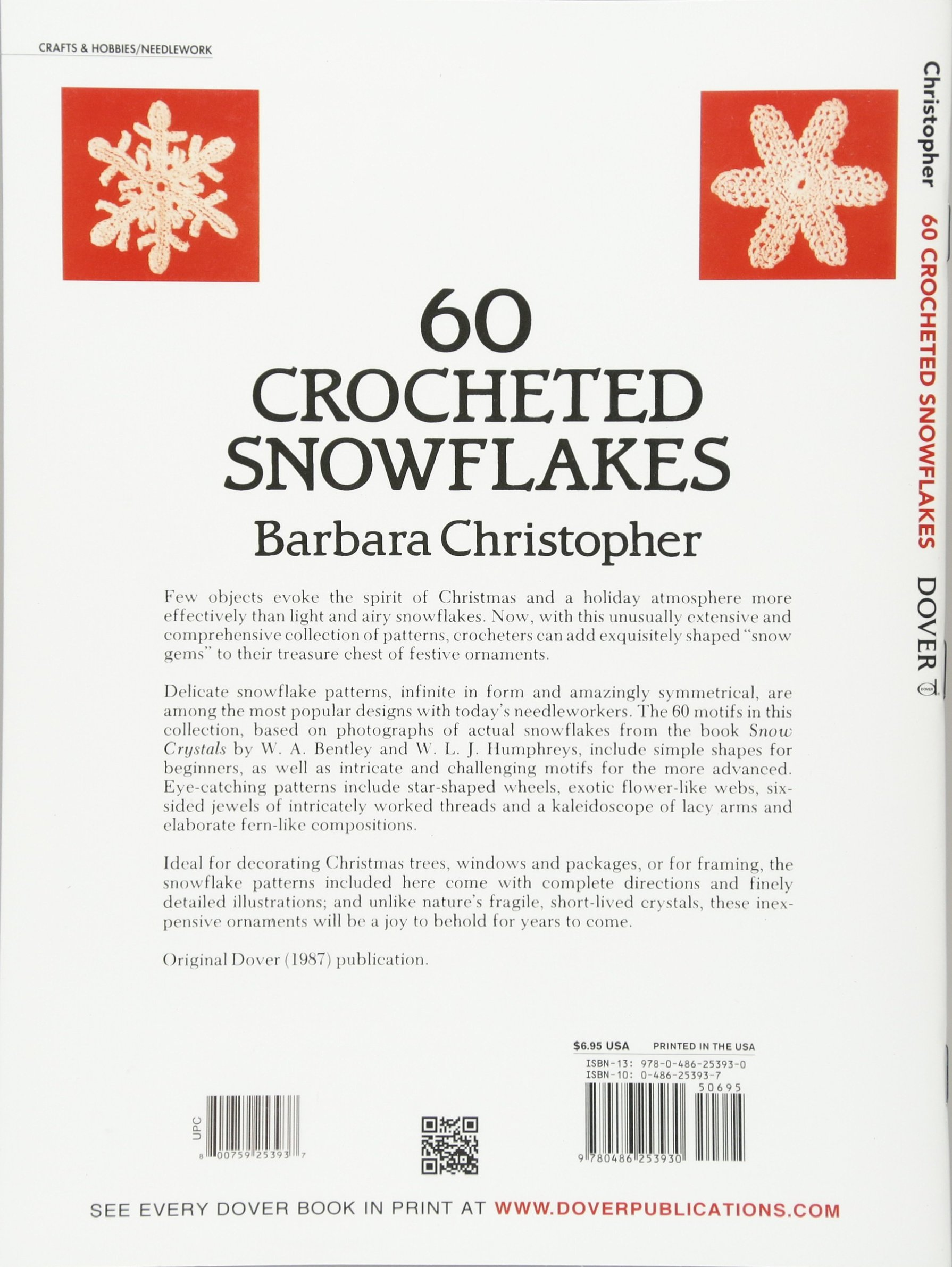60 Crocheted Snowflakes Dover Knitting Crochet Tatting Lace Snowflakescrochetpatterndiagram Barbara Christopher 0800759253937 Books