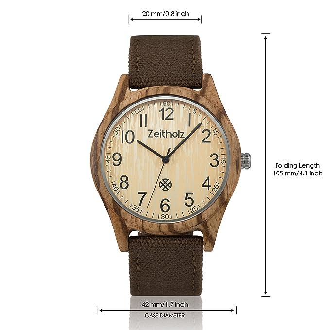 Reloj de Madera ZEITHOLZ - Altenberg - 100% de Madera de Zebrano - Producto Natural - Hipoalergénico - Sostenible - Esfera Blanca - Reloj de Pulsera en ...