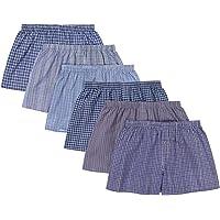 JMR Men's 100% Cotton Plaid Boxer Shorts Underwear 6pk