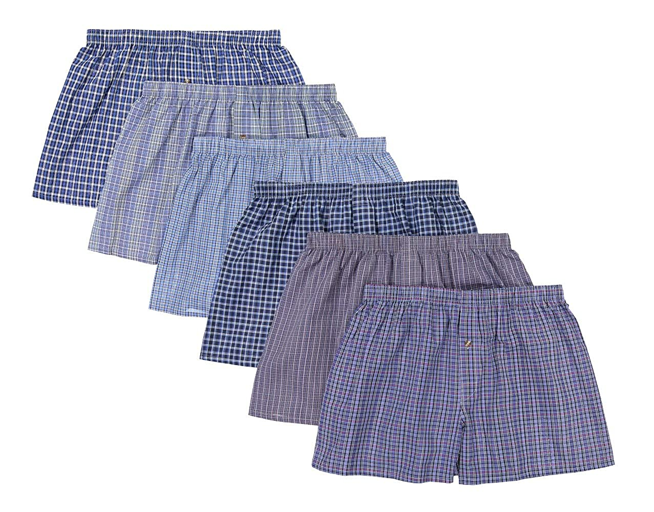 JMR Men's 100% Cotton Plaid Boxer Shorts Underwear 6pk