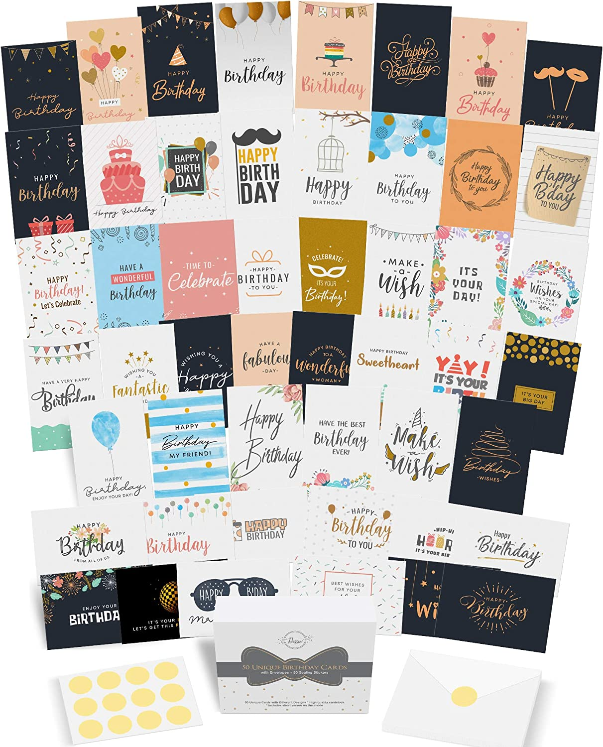 Dessie 50 Unique Birthday Cards Assortment with Generic Birthday Greetings Inside. Suitable For Men, Women and Kids At Home Or At Work. Send As Is Or Personalize. Includes Envelopes and Gold Stickers