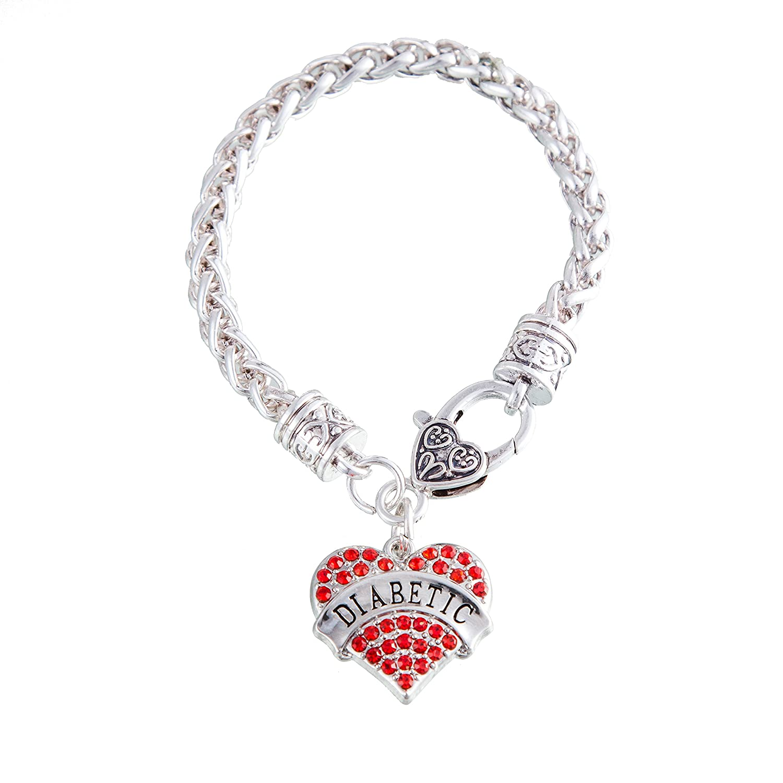 Cuore colorato motivo con incisione lettera diabetici, catena di metallo braccialetto Lega colore: Red YI WU KE JI UK_B076Z7XLRP