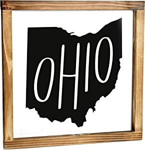 MAINEVENT Ohio Sign - Rustic Farmhouse Decor for The Home - Ohio State Sign, Modern Farmhouse State Gift, Ohio Wall Decor, State Souvenir, Rustic Home Decor Sign with Solid Wood Frame 12x12 Inch
