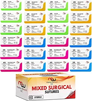 Sutures Thread with Needle (24 Mixed 2/0, 3/0, 4/0) - Practicing Suturing; Taxidermy; Military Tactical Drill, Hospital Clinic Rotation, Camping First Aid Travel Safety; MD, RN, EMT, Vet Demo