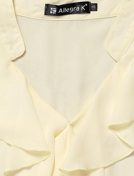Allegra K de Volantes Cuello de señorita de Embellished Self Tie Lazo Blusa para Dama Beige Beige S(36): Amazon.es: Ropa y accesorios