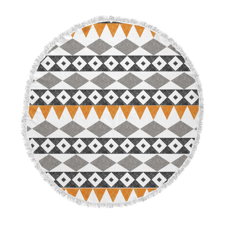 Kess InHouse Li Zamperini Tribal African Black Brown Illustration Round Beach Towel Blanket