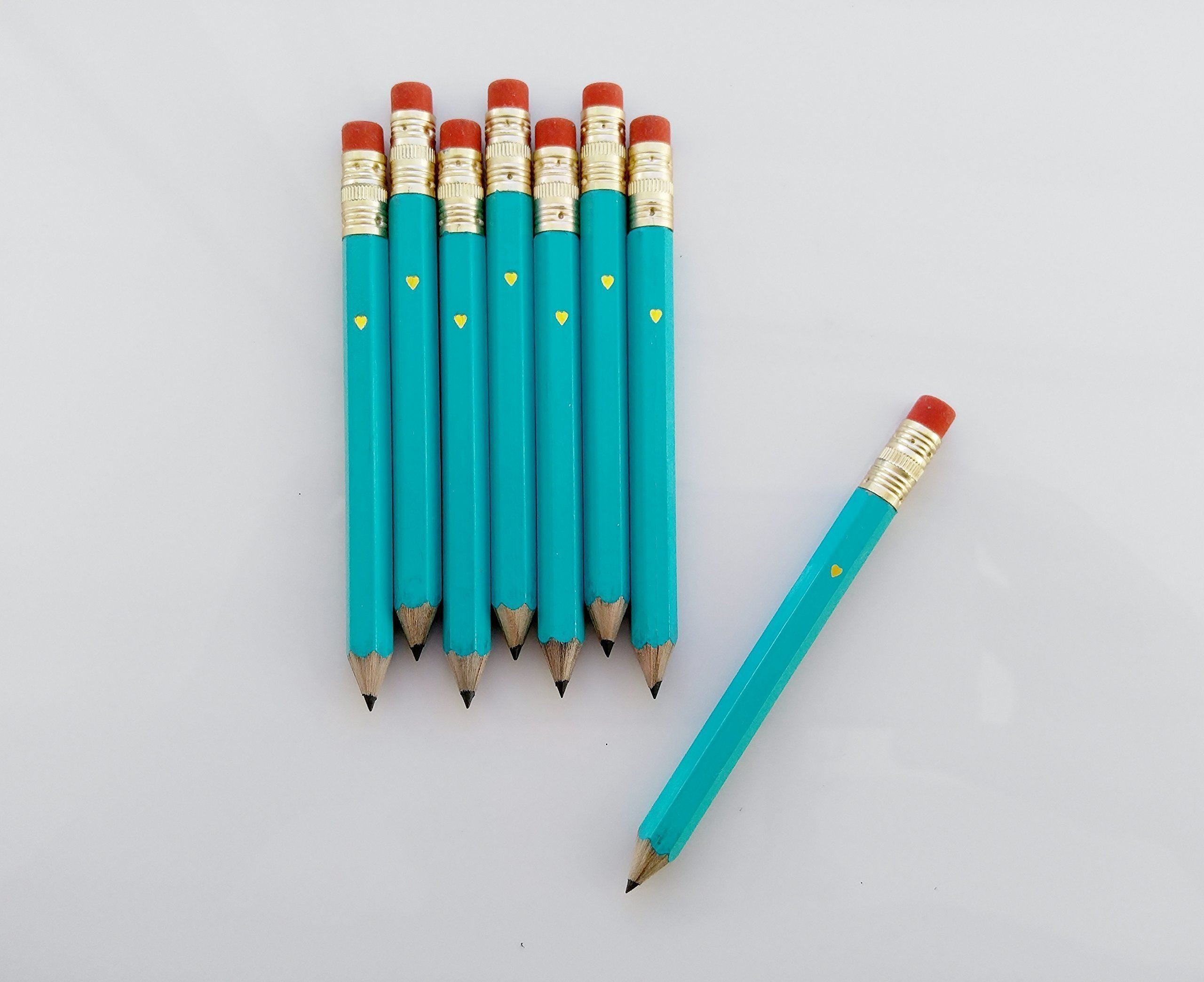 Teal Mini Pencil Set Gold Heart Pencils Adivice for Bride and Groom Wedding Favor Wedding Pencil Set Tiffany Blue Pencil Set Bridal Shower SET OF 10