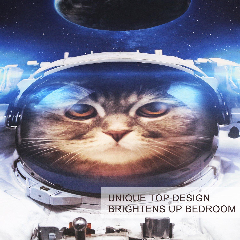 BlessLiving Funny Space Cat Bed Set 3 Piece Astronaut Pet Bedspread Teens Kids Blue Galaxy Bedding Star Universe Duvet Cover Queen
