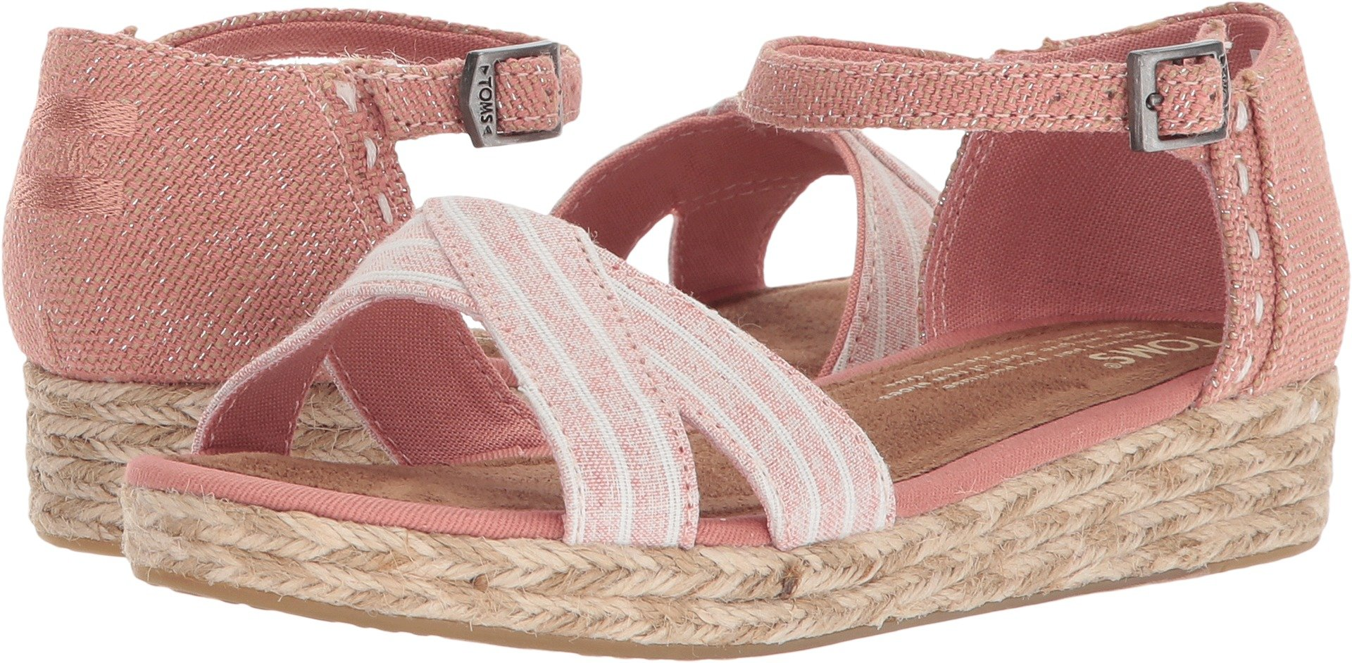 TOMS Youth Harper Novelty Textile Wedge, Size: 5 M US Big Kid, Color Bloom Chambray Stripe