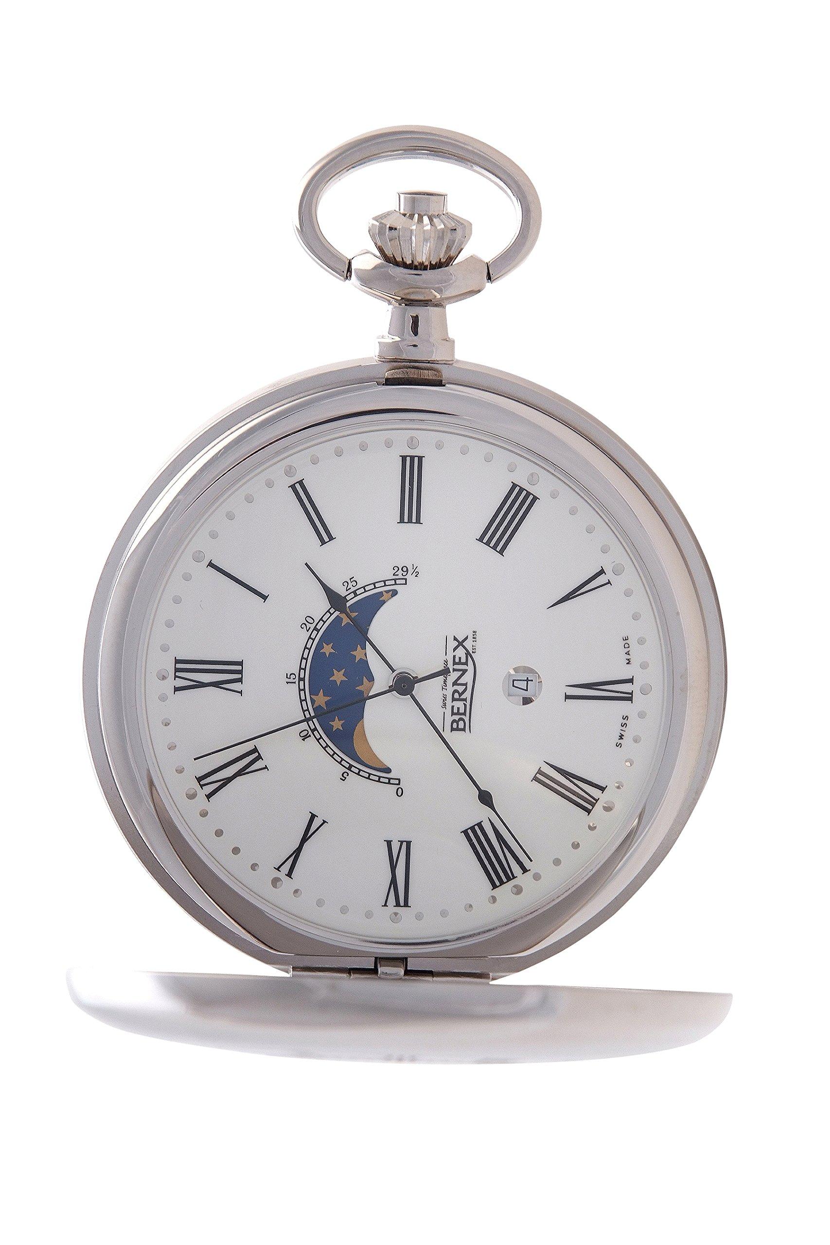 GB21207 - Rhodium Plated - Demi/Half Hunter - Quartz Movement - Roman Dial - White Dial