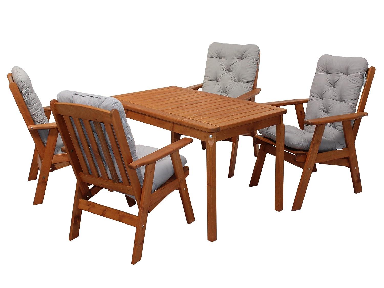 Ambientehome 90537 Gartengarnitur Gartenset Sitzgruppe verstellbarer Hochlehner Varberg braun inkl. graue Kissen und Tisch Evje 120x70 cm 9-teiliges Set