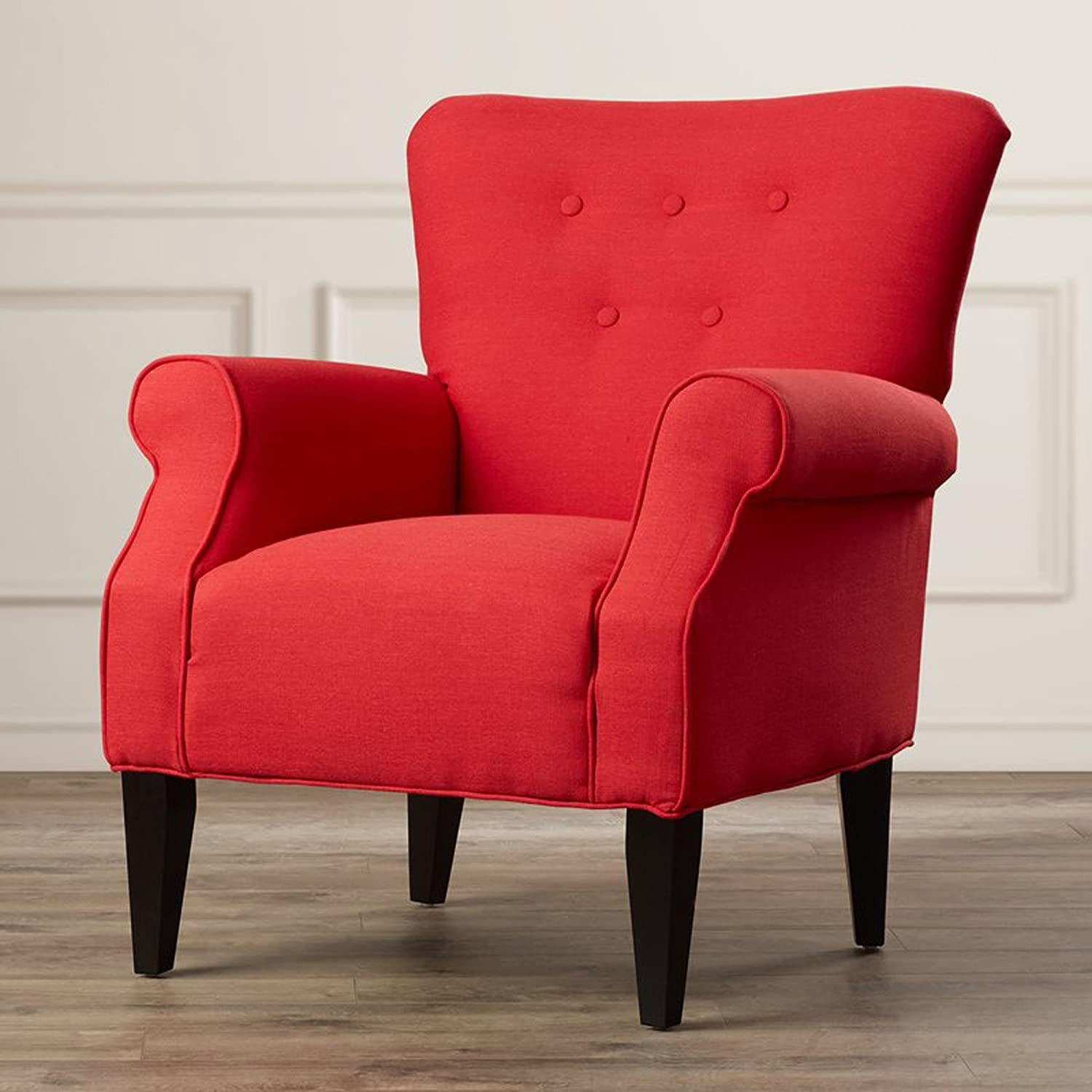 Accent Armchair - Button Tufted Back Arm Chair - Polyester Upholstered Modern Chic Seat (Lipstick Red