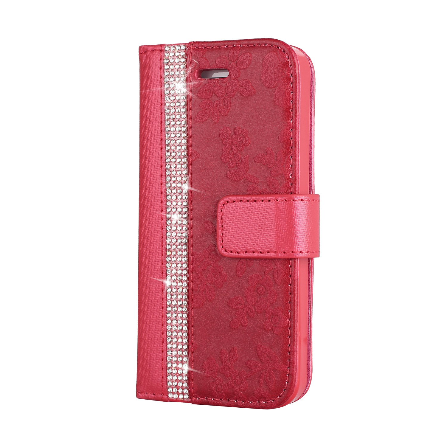 ZCXG iPhone 5 iPhone 5S iPhone SE Cover Red Diamond Glitter Case Flip Stand Cover Card Slots 3D Case Magnetic Closure Leather Wallet Cover Clear View Ultra Thin Case Shockproof Case Slim Fit