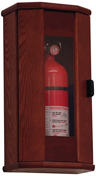 Wooden Mallet Fire Extinguisher Cabinet, 5 Pound, Mahogany/Acrylic