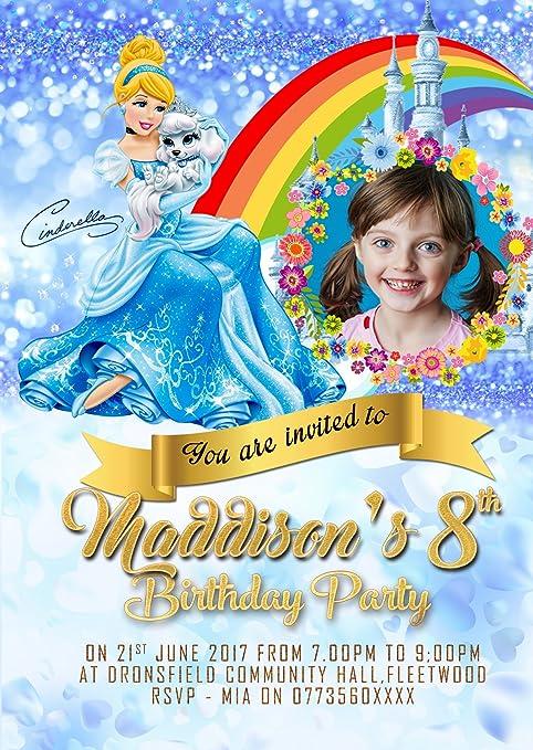 Personalizado Disney Princesa Cenicienta Invitaciones Para