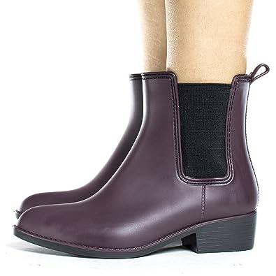 Women's Chelsea Ankle Women's Rain Boots Elastic Gore & Pull Tab
