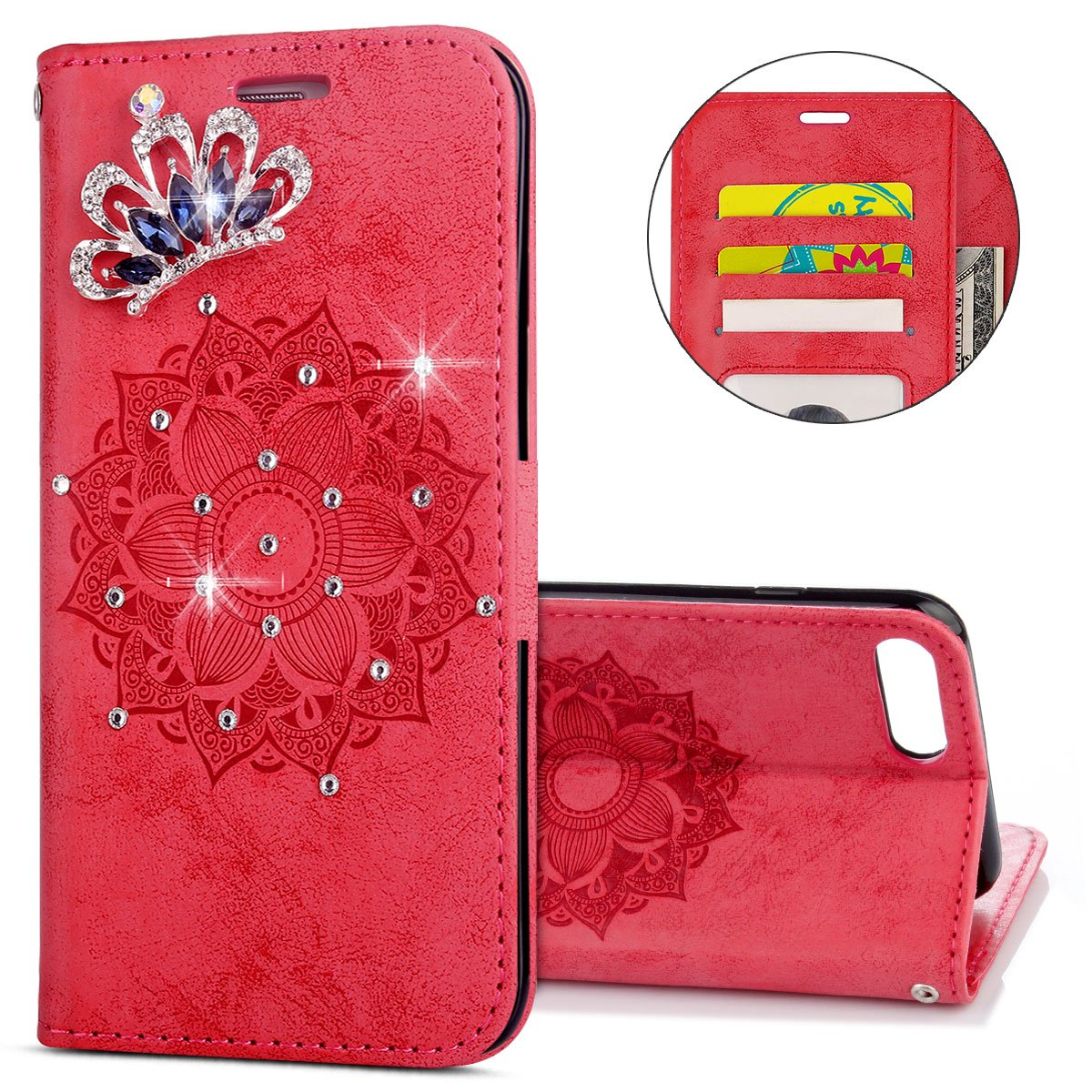 IKASEFU iPhone 7 plus,iPhone 8 plus Case,Clear Crown Rhinestone Bling Glitter Wallet with Card Holder Emboss Mandala Floral Pu Leather Magnetic Flip Protective Cover for iPhone 7 Plus/8 Plus,Red
