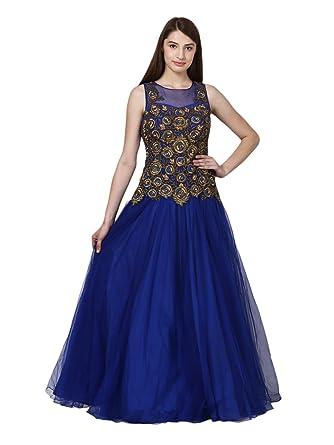 9dfcc4b36d Panache Designer Studio Women's Net Gown with Hand WorK (Blue, Medium):  Amazon.in: Clothing & Accessories