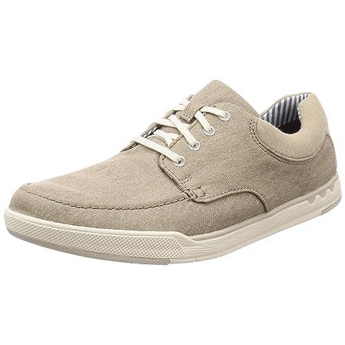 Clarks Step Isle Lace Zapatos de Cordones Derby para Hombre Beige Sand Canvas 40 EU
