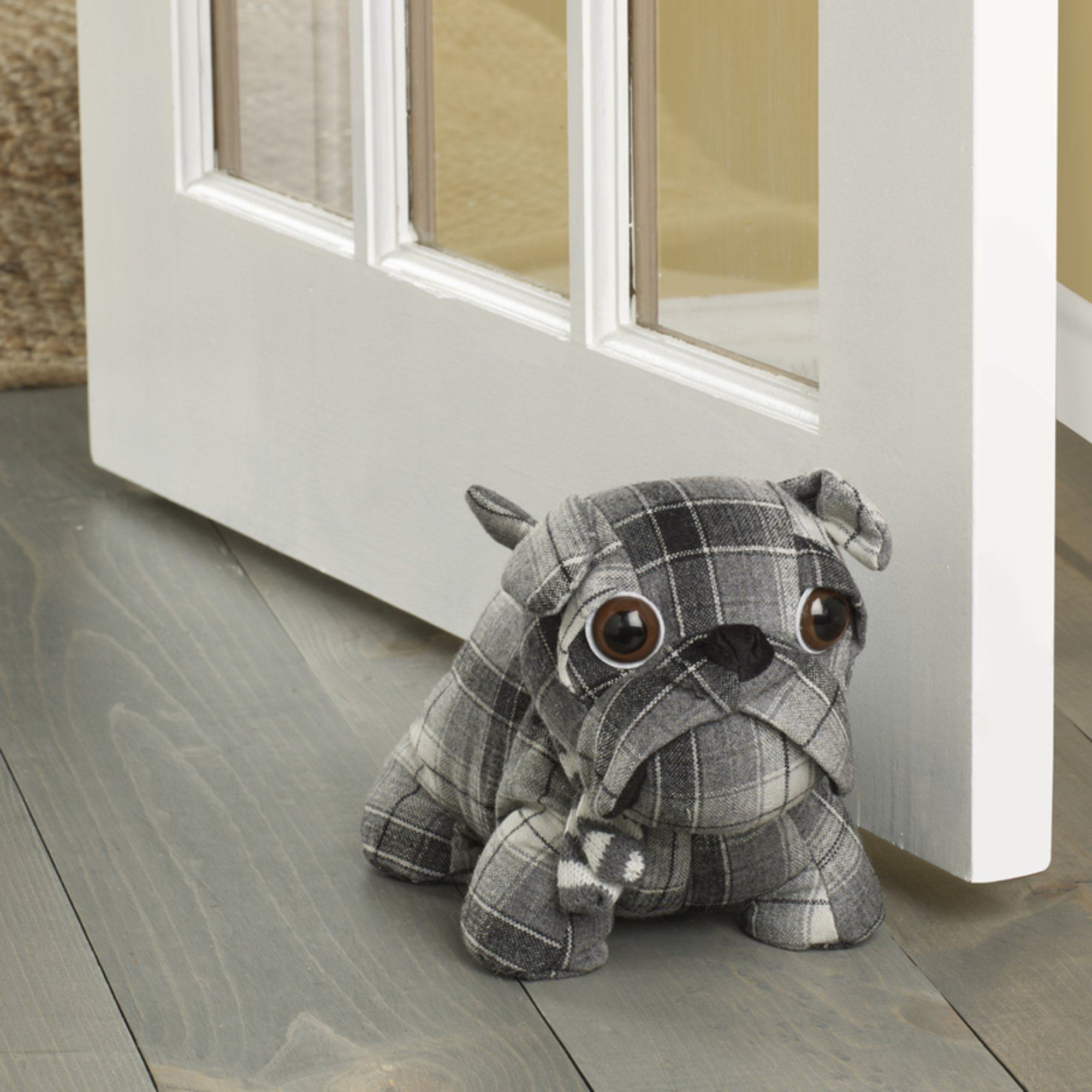 Elements Plaid Bull Dog Door Stopper, 10-Inch, Plaid Dog