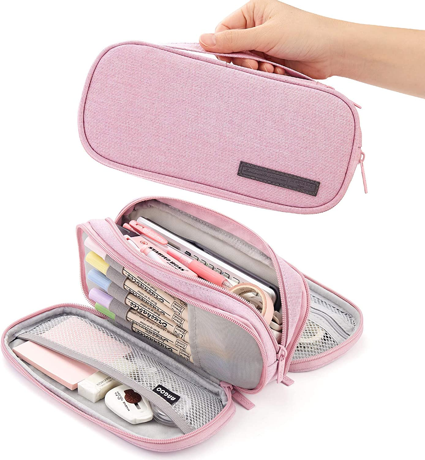 CICIMELON Pencil Case Big Capacity Handheld 3 Compartments Pencil Pouch Portable Large Storage Canvas Pencil Bag for Boys Girls Adults Students Business Office(Pink)