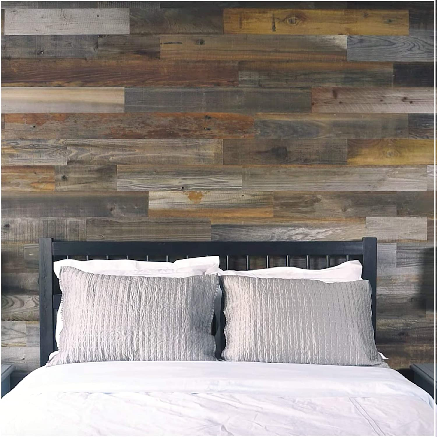 Amazon Com Weekend Walls Reclaimed Weathered Redwood Diy Easy Peel And Stick Wood Wall Paneling Sample Pack Natural Silver Home Improvement