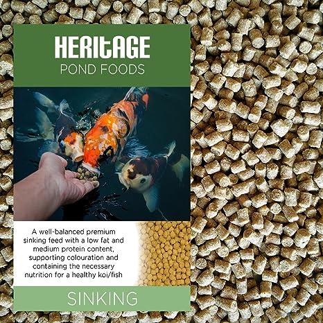 Pienso granulado para peces carpa común o dorado de Heritage