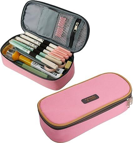 Estuche escolar con estuche individual escolar, estuche de gran capacidad, estuche para lápices para niños y niñas, adolescentes de aprox. 21 x 10 x 5 cm, color rosa: Amazon.es: Oficina y papelería
