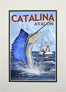 product image for Catalina Island, California - Avalon - Sailfish (11x14 Double-Matted Art Print, Wall Decor Ready to Frame)