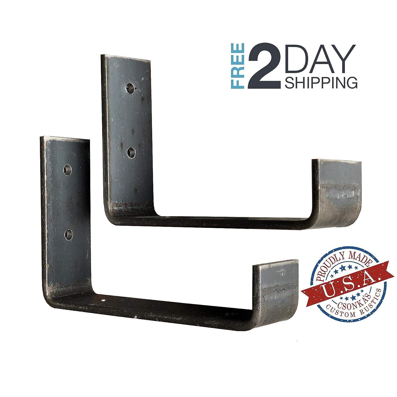 """2 Pack - 5.5""""L X 4""""H Hook Brackets, Hook Iron Shelf Brackets, J Bracket, Metal Shelf Bracket, Industrial Shelf Bracket, Modern Shelf Bracket"""