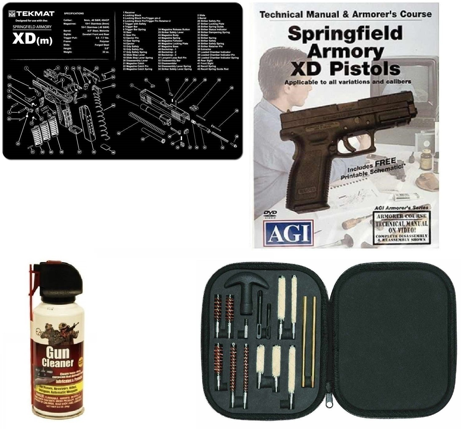 ... Gear Gun Mat Springfield Armory XD-M XDM + 17pc Handgun Pistol Cleaning  Kit Brushes, Swab, Tips & Patches + AGI DVD Pistols Armorer's Course +  Cleaner ...