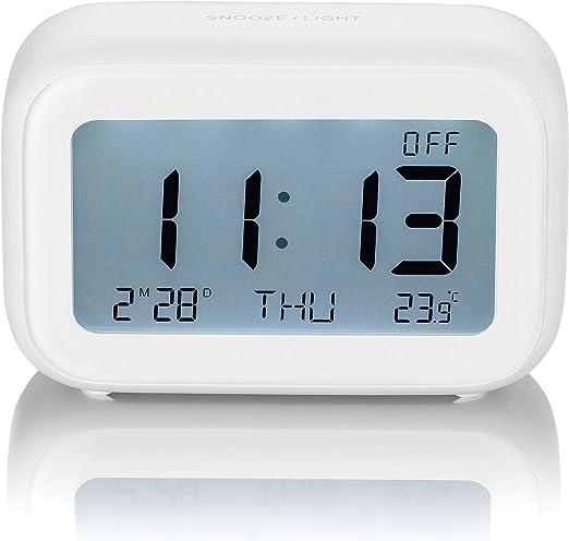 SEBSON Reloj Despertador Digital Blanco a Pilas, Reloj de Mesa con ...