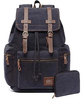 c241749eaae1 KAUKKO Canvas Vintage Backpack Casual Daypack School Leather Rucksack  Laptop Bag (Black-01)