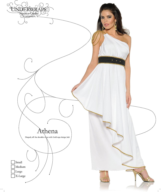 Grecian Beauty Womens White Gold Roman Toga Halloween Costume