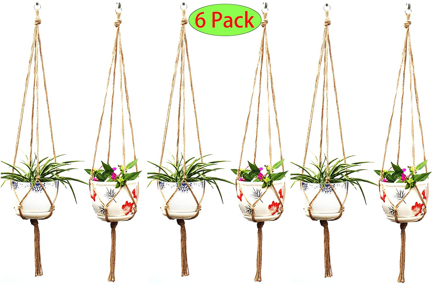 Plant Hanger Macrame Plant Hanger Flower Pot Holder for Indoor Outdoor – 6 Pack Handmade Plant Hanger Hanging Planter Wall Modern Boho Home Decor 4 Legs Plant Hanger – Jute 6pcs