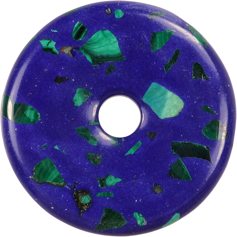 Fuente de Vida Plus Azurit-Malachit Rec. Colgante con Forma de Donut de Piedras Preciosas, 30 mm de diámetro.