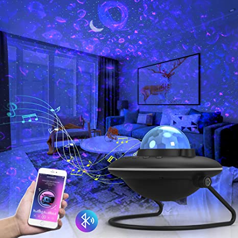 LED Ambience Light for Kids Adults Bedroom Home Party 3 in 1 Ocean Wave Nebula Starry Projector with Bluetooth Speaker Night Light Projector 120/°Rotatable Battery Powered Up to 5H Working Time