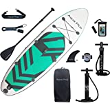 Aqua Plus 11ftx33inx6in Inflatable SUP for All Skill Levels Stand Up Paddle Board, Adjustable Paddle,Double Action Pump,ISUP