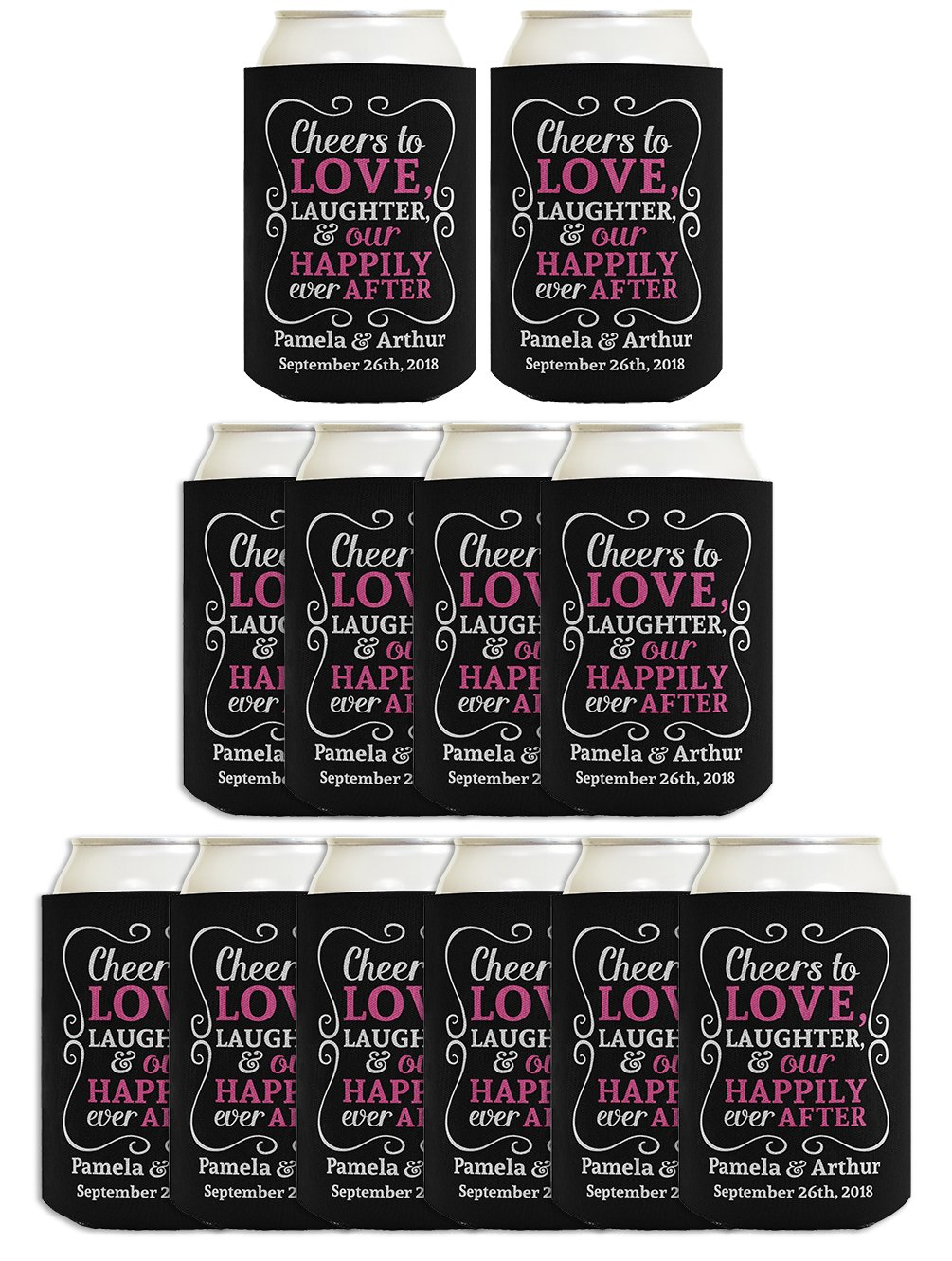 Wedding Coolies Personalized Cheers to Love Custom Names & Date Funny Wedding Gifts Personalized Wedding Decorations 12 Pack Can Coolie Drink Coolers Coolies Black