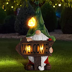 Garden Gnome Statue,Green Hat Welcome Resin Statue with Solar LED Lights,Garden Figurines for Gnomes Garden Decorations,Patio Yard Lawn Ornaments Gift