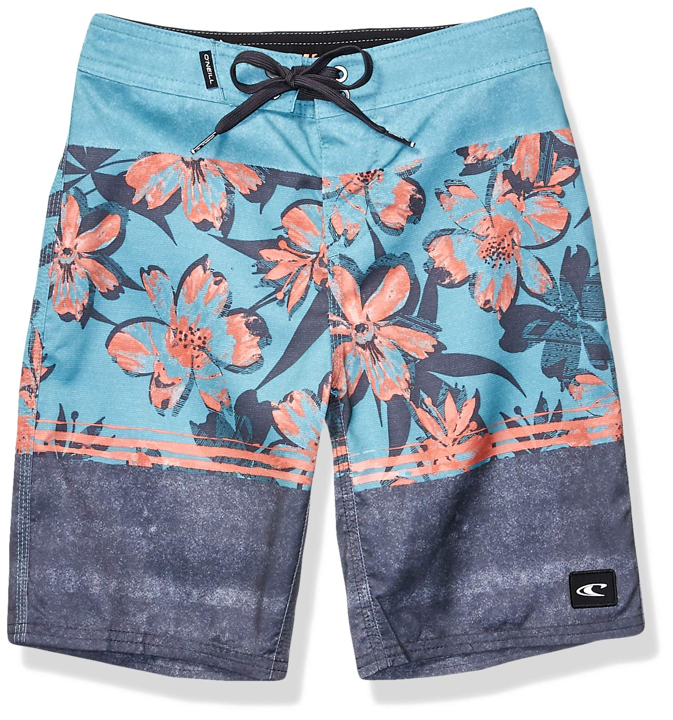 O'Neill Big Boys' 18 Inch Outseam Ultrasuede Swim Boardshort, Teal/Floriculture, 24
