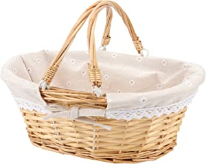 HOZEON 14.1 x 11 x 6.7 Inch Natural Wicker Woven Basket, Premium Willow Basket with Handle and Linen Cotton Cloth Lining, Elegant Wicker Basket for Storage, Gift, Decoration, Picnic, Party, Natural